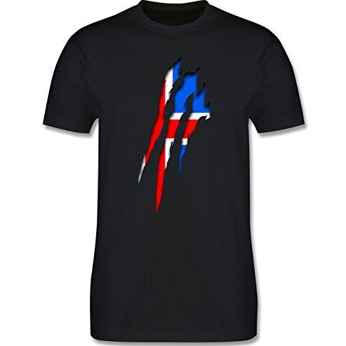 Länder - Island Krallenspuren - Herren Premium T-Shirt Schwarz