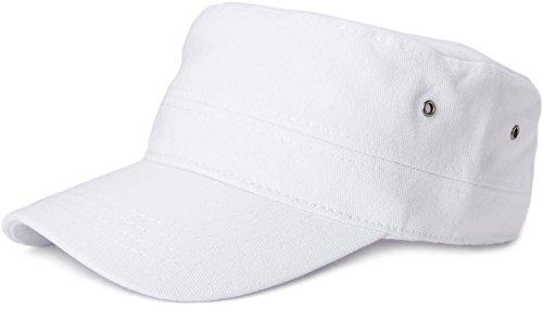 styleBREAKER Cap im Military-Stil aus robustem Baumwollcanvas (Weiß)