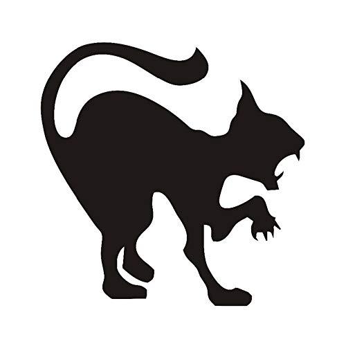 ljjljj Scary Black Cat Wandaufkleber Halloween Dekoration Cat Vinyl Aufkleber Wandkunst Angry Cat Hallowmas Home Decor 44x44cm