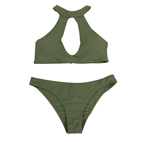 chenpaif Women Plus Size Sexy Two Piece Bikini Set Halter Neck Large Hollow Out Backless Bra Low Waist Cheeky Thong Bottoms Solid Color Swimsuit 4 Colors Army Green L - Bra Plus Backless Size