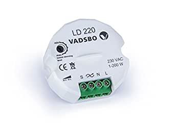 LD220, Vadsbo, Energy Saving, Trailing Edge, LED Dimmer, max. load 200W, Start at 1W! can be controlled by up to 5 Push-Button Retractive Switches; Variateur 1-200W