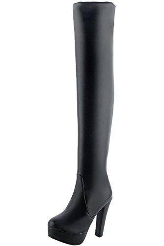 BIGTREE über Knie Stiefel High Heel Damen Herbst Winter Plateau PU Leder Casual Blockabsatz Overknee Stiefel von Schwarz PU 33 EU -