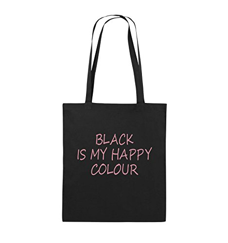 Comedy Bags - BLACK IS MY HAPPY COLOUR - Jutebeutel - lange Henkel - 38x42cm - Farbe: Schwarz / Pink Schwarz / Rosa