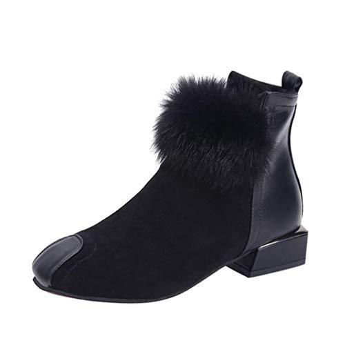 OYSOHE Damen Stiefel,Fluffy Kunstpelz Schuhe Wildleder Stiefeletten Karree -