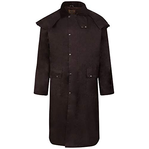 Abrigo de equitación encerado, largo, unisex, marrón antiguo, doble pliegue, impermeable marrón marrón
