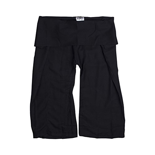 Lofbaz Mini Thai Fisherman Pants Rayonne Unie Noir 3/4Y