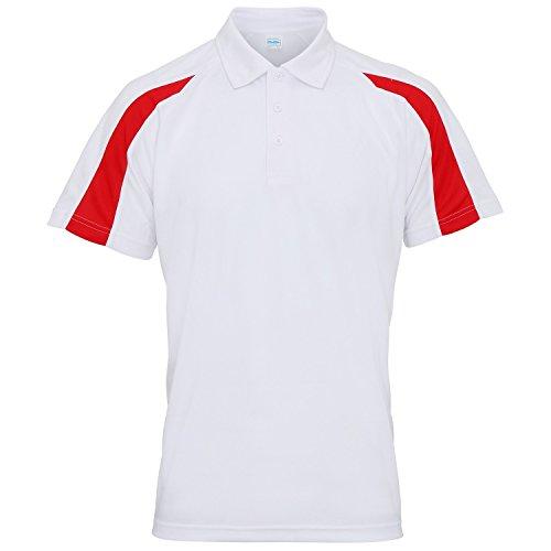 AWDis Just Cool Herren Kurzarm Polo Shirt mit Kontrast Panel Arctic Weiß/Feuerrot