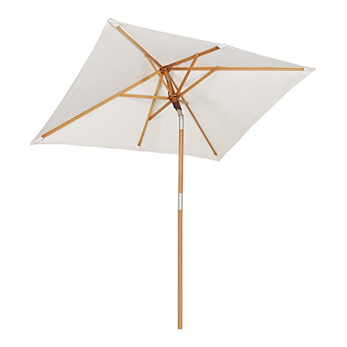 Sekey® 200 × 150 cm Parasol en Bois inclinable pour Patio Jardin Balcon Piscine Plage rectangulaire Ecru/Crème Sunscreen UV50+