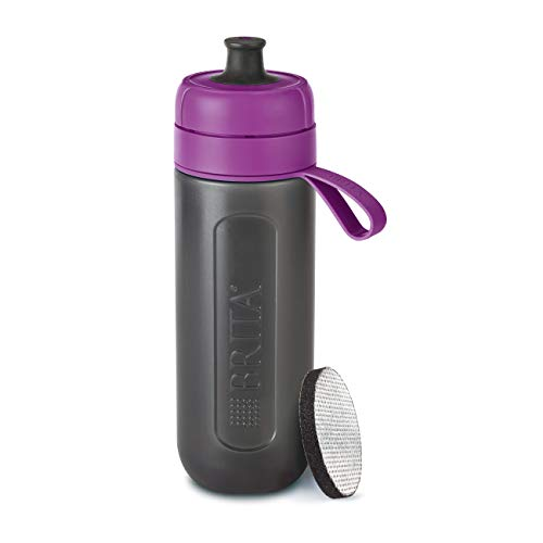 BRITA Wasserfilter-Flasche fill&go Active Lila - Robuste Sport Trinkflasche mit Wasserfilter für unterwegs aus BPA-freiem Kunststoff - Zusammendrückbar - Flasche Lila Brita-wasser