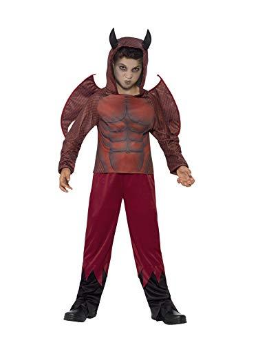 n Teuflischer Dämon Deluxe Kostüm, Oberteil mit Hörnerkapuze, Hose und Flügel, Größe: S, 44295 ()