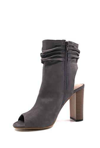 CHIC NANA . Chaussure Femme Mode Bottines peep toes en style daim. Gris