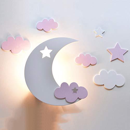 Kinderzimmer E27 Nachttischlampe, LED Star Moon Paket Eisen Niedlichen Augen Jungen Und Mädchen Wandleuchte, Kindergarten Wanddekoration Licht, Weißen Mond Und Rosa Wolken -