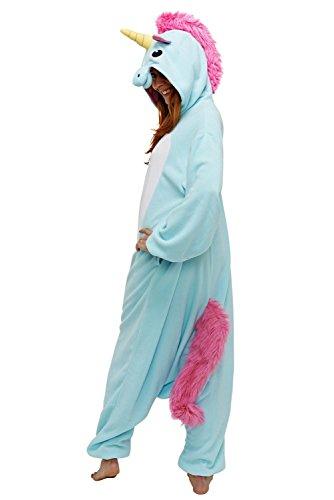 """Erwachsene und Kinder Einhorn Cosplay Kostüm Sweatshirts Jumpsuit Trainingsanzug (M fit for Height 155-165CM (61""""-65""""), A-Blau)"""