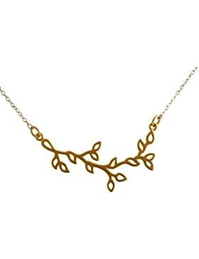 Gemshine - Damen - Halskette - 925 Silber - Vergoldet - Lotus Blumen - LEAVES - 45 cm