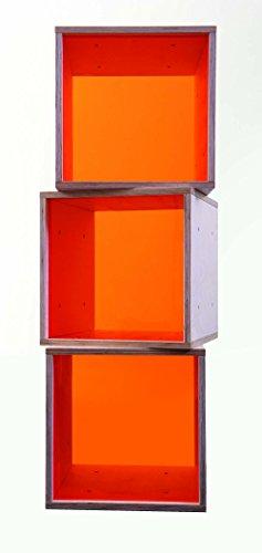 iCube das Regal mit oranger Plexiglasscheibe 3er Set in PREMIUM QUALITÄT