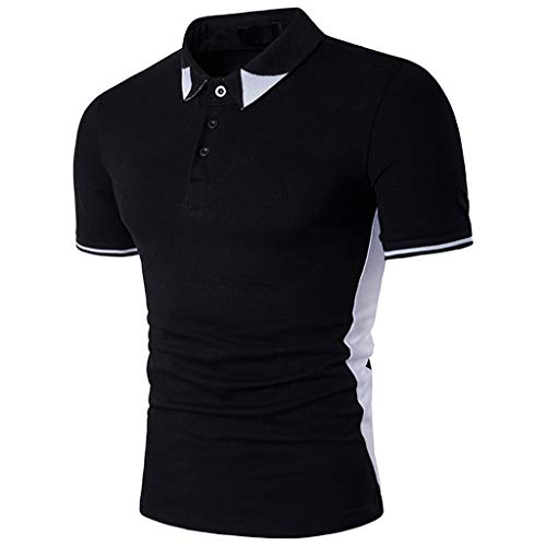 BHYDRY Zweifarbige Patchwork Revers Kurzarm T-Shirt Tops für Herren