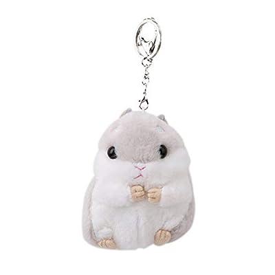 Fliyeong Premium Quality Cute Hamster Keyring Plush Pendant Keychain Car Key Ring Bag Handbag Charm, Grey