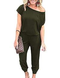 Ajpguot Monopezzi e Tutine da Donna Moda Tutine Intere di Colore Solido  Pagliaccetti Lungo Casual Jumpsuits edeac57dad9