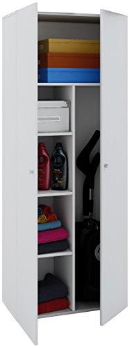 *VCM Staubsauger Besenschrank Mehrzweckschrank Putzschrank Vandol | Auswahlmöglichkeiten: +Schublade / +Aufsatz Höhe 178 cm: Weiß*