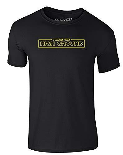 Brand88 I Have The High Ground, Erwachsene Gedrucktes T-Shirt - Schwarz/Gelb L = 104-109 cm