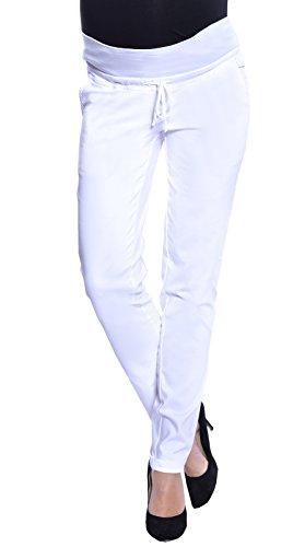 Weiße Schwangerschaftshose Jeans mit Mini Bauch Panel