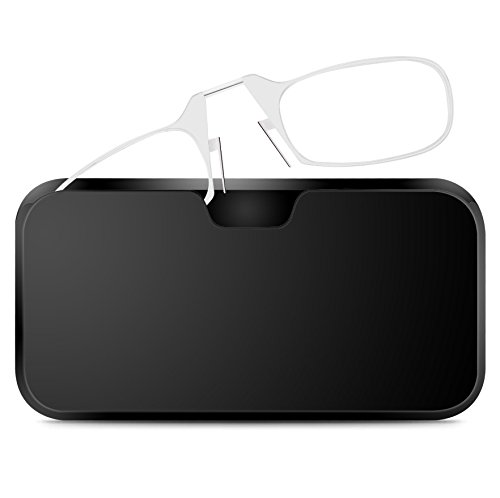 Unisex Zwicker Lesebrille [RETRO SPECS] Mini Brille Ohne Bügel für Damen und Herren, Transparent Dioptrien Stärke +1,5 mit Brillenetui Hardcase (Für Bügel Brillen)