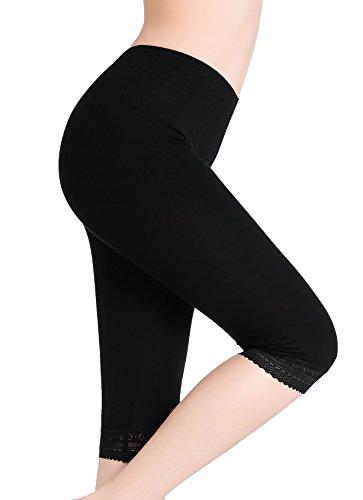 Damen Kurze Leggings Capri Hose Unter Rock Elastische Weich 3/4 Leggins Spitze, Gr.- S, 1x Schwarz Spitzenbesatz