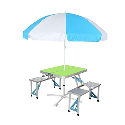 Aluminium Klapp Camping Tisch Outdoor tragbare Picknick Koffer Tisch Set W/Bench 4 Sitz mit Regenschirm und Regenschirm Sitz (Color : Green) Combo Green Compact
