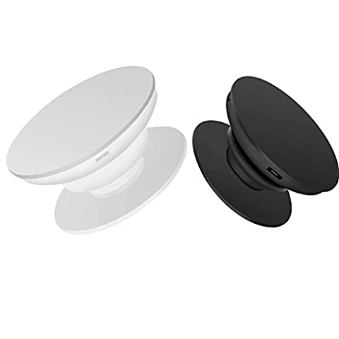 Cell Phone Holder,Expanding Stand and Grip For Smartphones(iPhones,Samsung, HTC etc.)and Tablets(iPad,Mini iPad etc.) Car Mount Holder Gripper [2 Pack,1*Black & 1*White] or Random 2 Colours