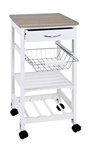 Haku-Möbel Küchenwagen, weiß-Eiche hell, 37 x 37 x 76