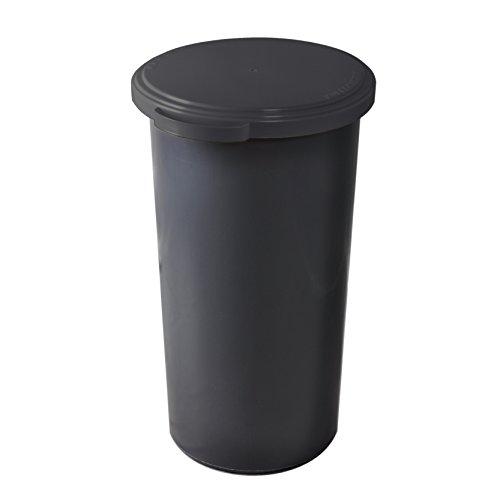 KUEFA 60L Müllsackständer mit flachem Deckel - Gelber Sack Mülleimer (Grau) -
