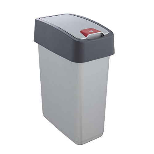 Keeeper Cubo de la Basura Premium con Tapa Abatible, Tacto suave, 10 l, Magne, Plateado