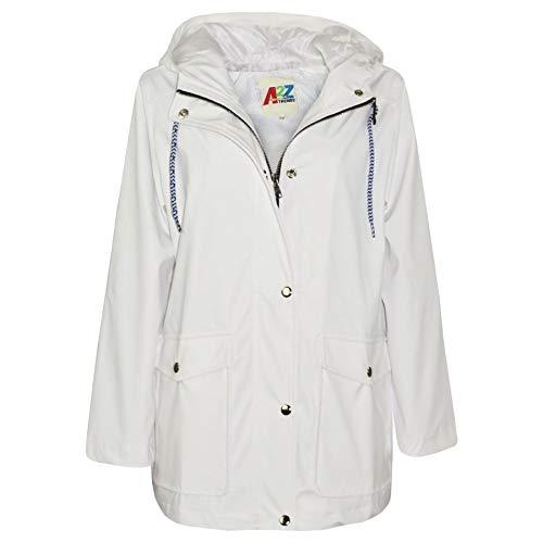 A2Z 4 Kids® Kinder Mädchen Jungen PU Regen Mantel Jacken Windbreaker - PU Raincoat 497 White 9-10