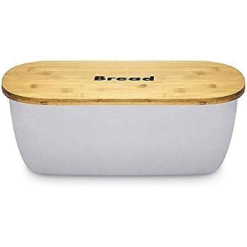 Orion kitchen bread bin storage box with bamboo lid airtight Black