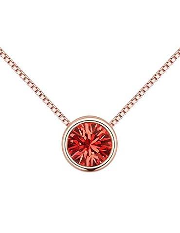 FANSING Bijoux Cadeau Femmes Rond Cristal Solitaire 0.7*0.7cm Pendentif Simple Colliers 40+5cm - Rosa Ha Placcato Argento