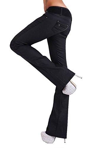 Glanz Damen Bootcut Stretch Jeans Schlag Hose im Wetlook schwarz Größe 36