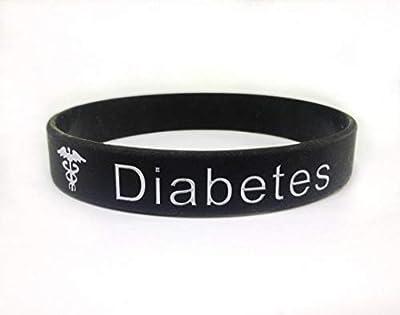 Diabetes Bracelet d'alerte médicale pour Hommes Femmes. Bracelet noir en silicone, 202 mm, de Butler & Grace