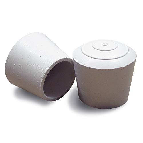 Ajile Stuhlbeinkappen, 4 Stück, rund, aus Gummi für Rohre mit Durchmesser von 16mm - Weiß - EVR016-M (Gummi-rohr)