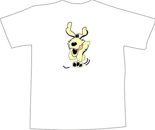 T-Shirt E679 Schönes T-Shirt mit farbigem Brustaufdruck - Logo / Grafik - Comic Design - lustiger rennender Hund mit großen Ohren Weiß