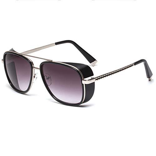 K-Flame Sonnenbrillen Unisex Square Matel Frame Eyewear UV400 Schutz Polarisierte Brille Iron Man Brille Steampunk Style für Männer und Frauen Reisen,SilverAsh,147mm