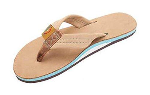 Rainbow Premier Sierra Leder Women's Farbe Midsole Flip Flops. New Ocean