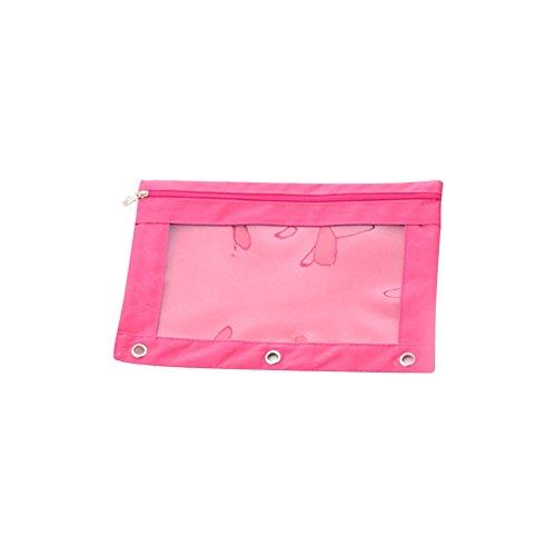 CTGVH Big Kapazität Clear Bleistift Fall, PVC-Fenster Datei Tasche mit B5Reißverschluss Oxford Binder für Büro, Schule, mit 3Stift durchgesetzt Lochung, Textil, rosig, 9.8 inch