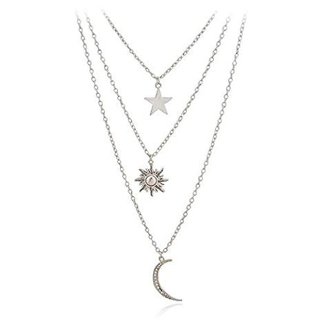 Jane Stone Collier Chaine Multi Rangs Pendentif Lune Etoile Soleil Personnalise Couleur Argent Bijoux