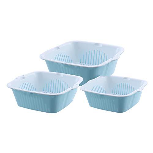 WXGM Cestello per Verdure a Doppio Strato - Plastica PP per Uso Alimentare, Ciotola per Frutta per Uso Domestico, Set di 3, A Totale di 6, Cestino per rifiuti, Lavello