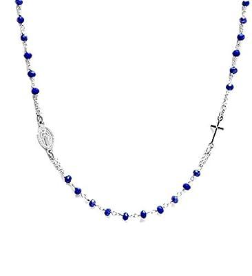Collier chapelet ras-du-cou en Argent 925 et pierres BLEU - Linea Italia bijoux Made in Italy