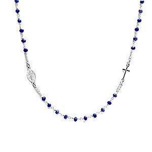 Collana rosario girocollo in Argento 925 e pietre BLU - Linea Italia gioielli Made in Italy