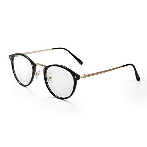 Aroncent Brillengestell für Damen mit transparenten Brillengläsern, sehr leicht, Farbe wählbar gold