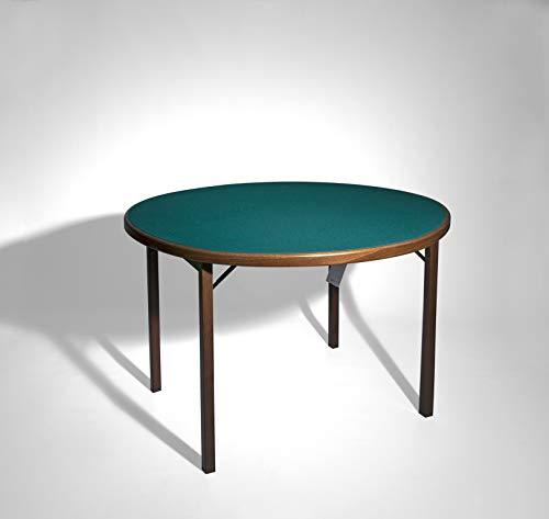 Moon Runder Spieltisch mit grünem Berufstuch mit breiter Holzkante.