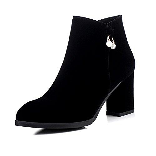 COOLCEPT Damen Arbeit Datierung Fransen Blockabsatz Reißverschluss Knöchelriemchen hohen Absätzen stiefel Schwarz