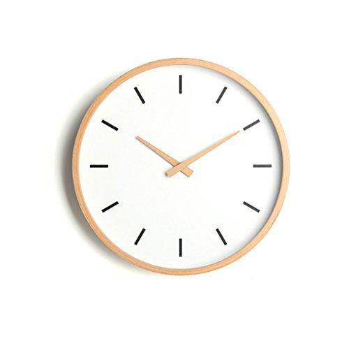 Reloj de pared nórdico respetuoso del medio ambiente y duradero Salón de madera maciza Reloj de haya moderno simple Reloj suspendido Reloj de cuarzo de cristal de espejo de alta definición Mudo japonés -Wall clock ( Color : A )